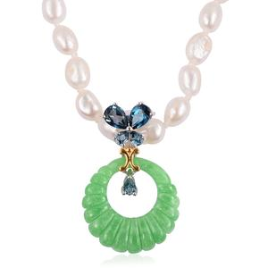Burmese Green Jade, Multi Gemstone 14K YG Over and Sterling Silver Pendant With Freshwater Pearl Beads Necklace (18 in) TGW 17.09 cts.