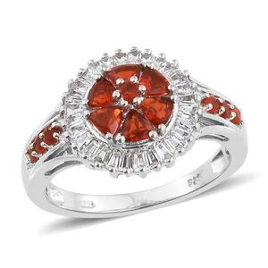 Crimson Fire Opal, White Topaz Platinum Over Sterling Silver Ring (Size 7.0) TGW 1.50 cts.