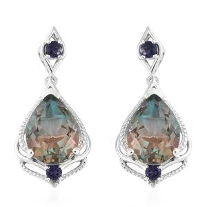Aqua Terra Costa Quartz, Catalina Iolite Platinum Over Sterling Silver Earrings TGW 19.50 cts.