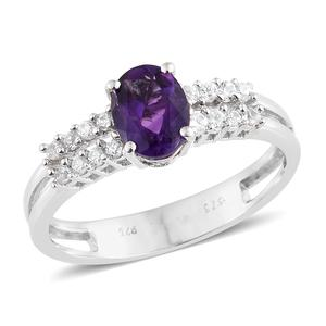 Moroccan Amethyst, Cambodian Zircon Platinum Over Sterling Silver Split Ring (Size 10.0) TGW 1.46 cts.