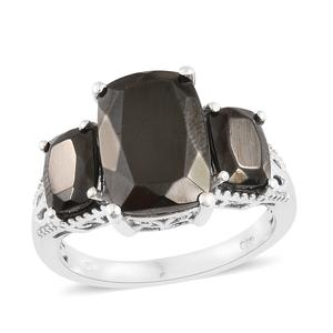 Shungite Platinum Over Sterling Silver Ring (Size 8.0) TGW 6.50 cts.