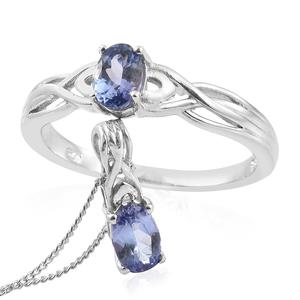 Tanzanite Platinum Over Sterling Silver Openwork Solitaire Ring (Size 10) and Pendant With Chain (20 in) TGW 1.20 cts.
