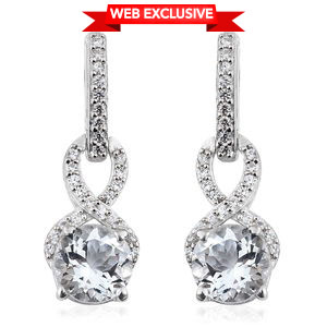 Brazilian Goshenite, Cambodian Zircon Platinum Over Sterling Silver Earrings TGW 3.12 cts.