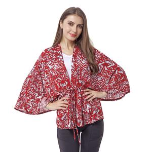 Red 100% Viscose Abstract Pattern Mid Sleeve Wrap Blouse(One Size)