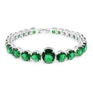 Simulated Emerald Silvertone Line Bracelet (7.50 In) TGW 50.00 cts.