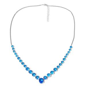 TLV Simulated Blue Topaz Silvertone Matinee Necklace (20 in) TGW 50.00 cts.