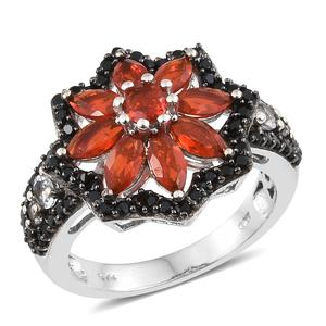 Crimson Fire Opal, Multi Gemstone Black Rhodium & Platinum Over Sterling Silver Floral Ring (Size 6.0) TGW 2.94 cts.