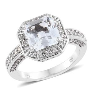 White Topaz Platinum Over Sterling Silver Ring (Size 9.0) TGW 4.77 cts.