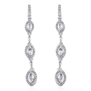 Brazilian Goshenite, Cambodian Zircon Platinum Over Sterling Silver Earrings TGW 2.75 cts.