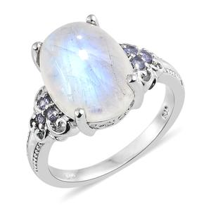 Rainbow Moonstone, Tanzanite Platinum Over Sterling Silver Ring (Size 10.0) TGW 10.75 cts.
