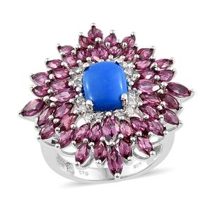 Ceruleite, Multi Gemstone Platinum Over Sterling Silver Cocktail Ring (Size 7.0) TGW 7.37 cts.