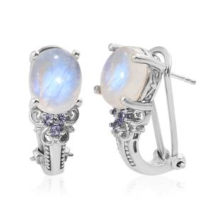 Rainbow Moonstone, Tanzanite Platinum Over Sterling Silver Omega Clip Earrings TGW 8.89 cts.