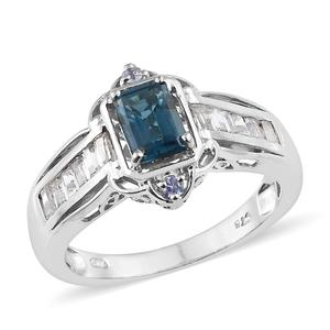 London Blue Topaz, Multi Gemstone Platinum Over Sterling Silver Ring (Size 7.0) TGW 2.01 cts.