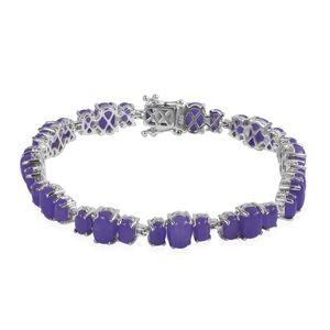 Burmese Purple Jade Sterling Silver Bracelet (7.75 In) TGW 31.10 cts.