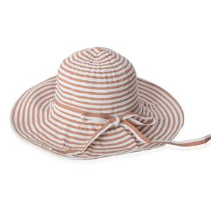Coffee and White 100% Paper Straw Strip Floppy Sun Hat with Bowknot (One Size)