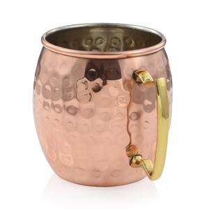 Copper Hammered Mug with Brass Handle (16 oz)