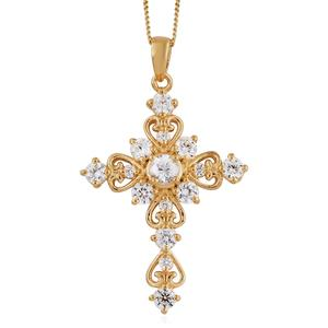 Natural White Zircon Vermeil YG Over Sterling Silver Cross Pendant With Chain (20 in) TGW 2.06 cts.