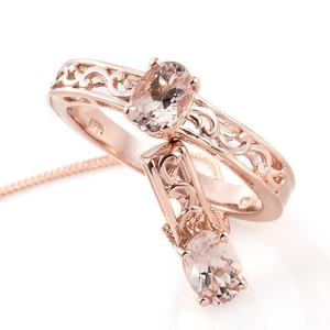 Marropino Morganite Vermeil RG Over Sterling Silver Ring (Size 6) and Pendant With Chain (20 in) TGW 1.50 cts.