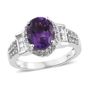 Moroccan Amethyst, White Topaz Platinum Over Sterling Silver Ring (Size 8.0) TGW 5.22 cts.