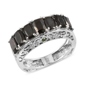 Shungite, Russian Diopside, Cambodian Zircon Platinum Over Sterling Silver Ring (Size 7.0) TGW 2.51 cts.