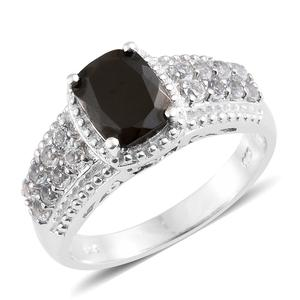 Shungite, White Topaz Platinum Over Sterling Silver Ring (Size 7.0) TGW 2.31 cts.