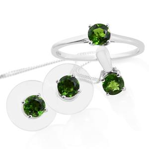 Russian Diopside Platinum Over Sterling Silver Solitaire Ring (Size 8), Stud Earrings and Pendant With Chain (20 in) TGW 2.20 cts.