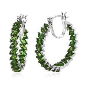Russian Diopside Platinum Over Sterling Silver Inside Out Hoop Earrings TGW 6.72 cts.