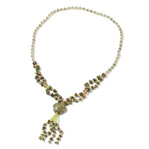 One Time Only Unakite, Multi Gemstone Silvertone Necklace (28 in) TGW 376.25 cts.