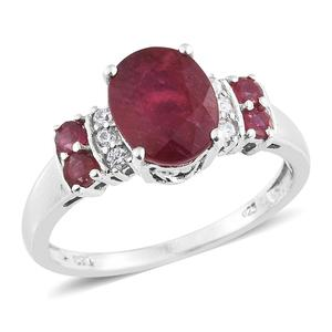 Niassa Ruby, Cambodian Zircon Platinum Over Sterling Silver Ring (Size 6.0) TGW 4.45 cts.