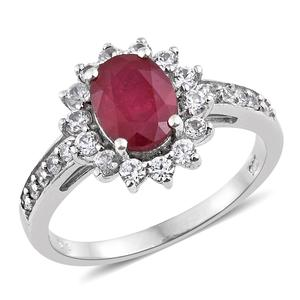 Niassa Ruby, Cambodian Zircon Platinum Over Sterling Silver Ring (Size 10.0) TGW 4.00 cts.