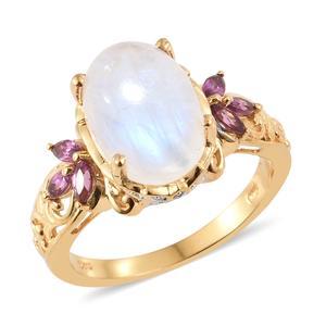 Sri Lankan Rainbow Moonstone, Multi Gemstone Vermeil YG Over Sterling Silver Ring (Size 7.0) TGW 7.85 cts.