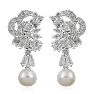 Freshwater Pearl, White Topaz Platinum Over Sterling Silver Earrings TGW 4.10 cts.