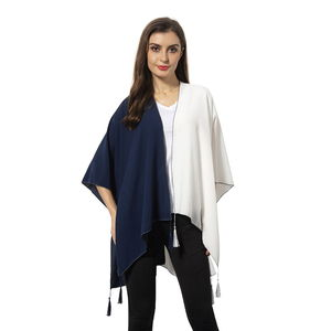 Navy and White 100% Polyester Kimono with Tassles (38.59x27.56 in)