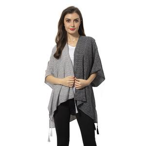 Black and Gray 100% Polyester Kimono with Tassles (38.59x27.56 in)