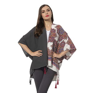 Black Solid Color and White Lotus Pattern 100% Polyester Kimono with Tassels (38.59x27.56 in)