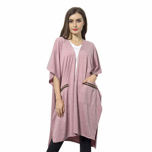 Lilac 100% Polyester Kimono with Multi Color Stripe Pockets (One Size)