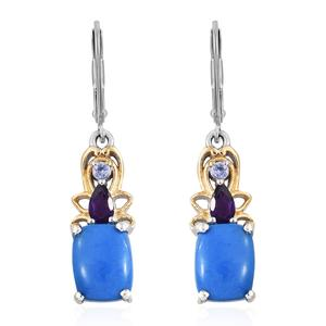 Ceruleite, Multi Gemstone 14K YG and Platinum Over Sterling Silver Lever Back Earrings TGW 3.58 cts.