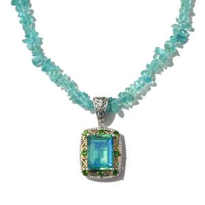 Peacock Quartz, Russian Diopside 14K YG and Platinum Over Sterling Silver Pendant With Madagascar Paraiba Apatite Chips Necklace (20 in) TGW 14.26 cts.