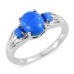 Ceruleite Platinum Over Sterling Silver Ring (Size 8.0) TGW 2.30 cts.