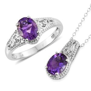 Moroccan Amethyst, Cambodian Zircon Platinum Over Sterling Silver Ring (Size 9) and Pendant With Chain (20 in) TGW 3.54 cts.
