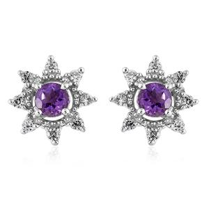 Moroccan Amethyst, Cambodian Zircon Platinum Over Sterling Silver Earrings TGW 0.84 cts.