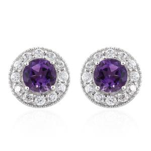 Moroccan Amethyst, Cambodian Zircon Platinum Over Sterling Silver Stud Earrings TGW 4.34 cts.