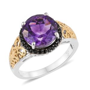 Moroccan Amethyst, Thai Black Spinel 14K YG and Platinum Over Sterling Silver Ring (Size 8.0) TGW 5.31 cts.