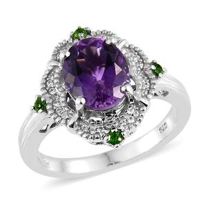 Moroccan Amethyst, Multi Gemstone Platinum Over Sterling Silver Ring (Size 8.0) TGW 4.08 cts.