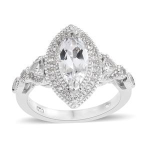 White Topaz Platinum Over Sterling Silver Ring (Size 8.0) TGW 2.66 cts.