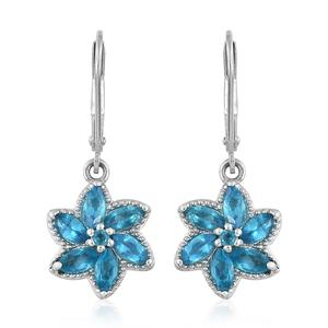 Malgache Neon Apatite Platinum Over Sterling Silver Lever Back Floral Earrings TGW 1.83 cts.