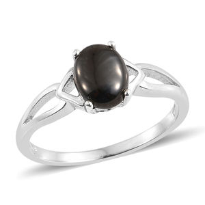 Shungite Platinum Over Sterling Silver Solitaire Split Ring (Size 8.0) TGW 1.20 cts.