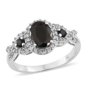 Shungite, Multi Gemstone Platinum Over Sterling Silver Ring (Size 7.0) TGW 2.03 cts.