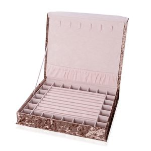 Light Brown New Long Hair Velvet Jewelry Box with Magnetic Lock (6 Necklace Hooks and 8 Ring Row) (12.2x10.2x2.2 in)