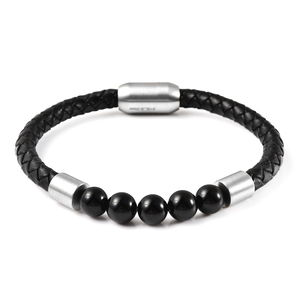 Enhanced Black Agate Beads, Braided Genuine Leather and Stainless Steel Men's 5 Stone Beaded Woven Bracelet with Magnetic Clasp (8.50 In) TGW 5.00 cts.